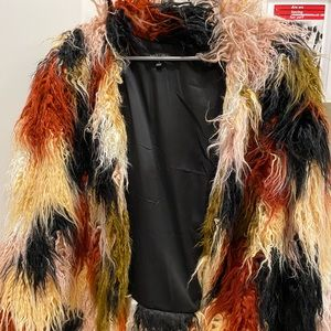 Faux Fur Multicolor Coat